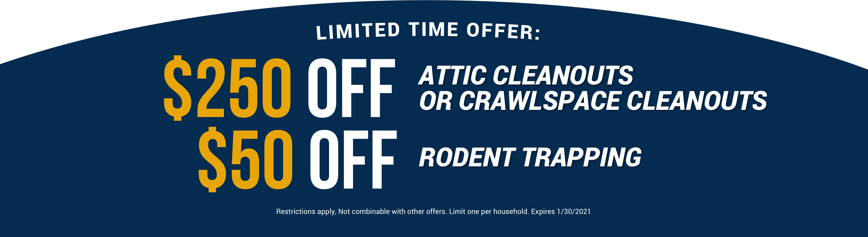 Attic Cleanouts, Crawlspace Cleanouts & Rodent Trapping Special Offer