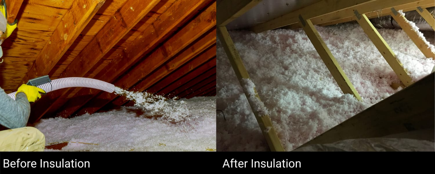Attic Insulation Before & After