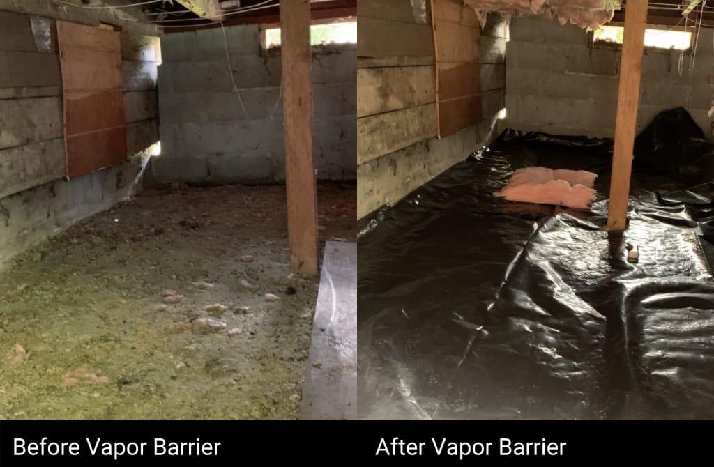 Vapor Barrier Before & After