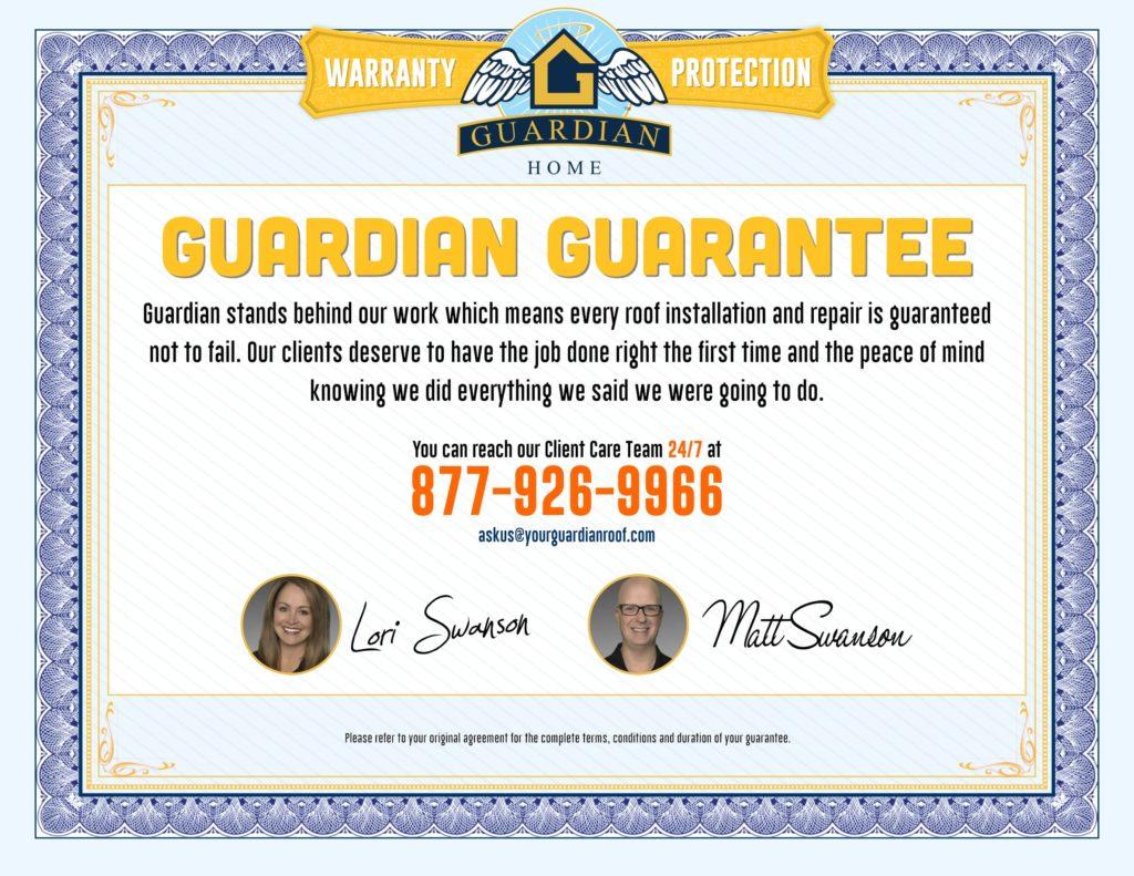 Guardian Guarantee Certificate